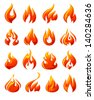Fire flames, set 3d red icons, vector illustration - stock vector