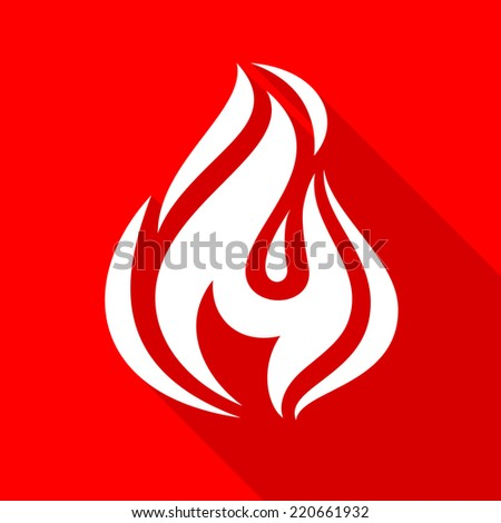 Fire flames, set icons with shadow on a square shape-17