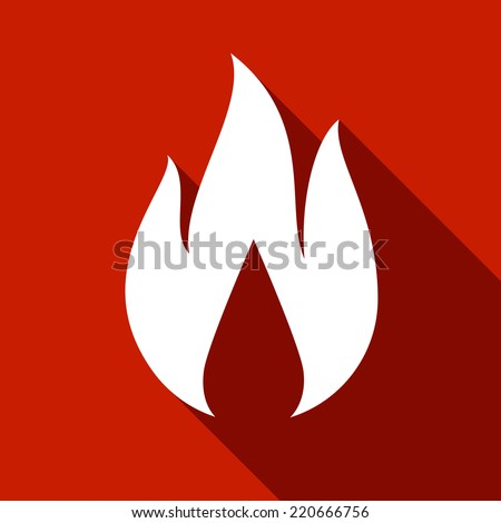 Fire flames, set icons with shadow on a square shape-22