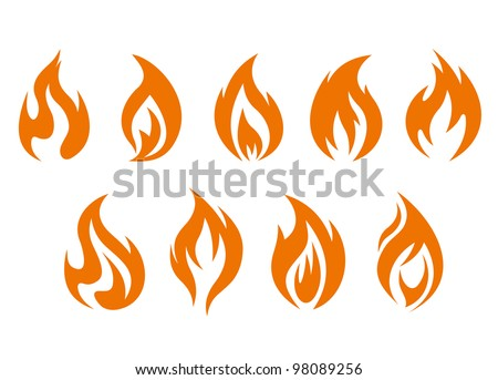 Fire flames symbols isolated on white background. Vector illustration - stock vector