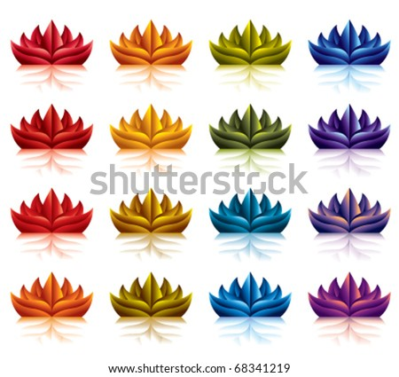 Fire flower icons color set. All colors gradients halftones.