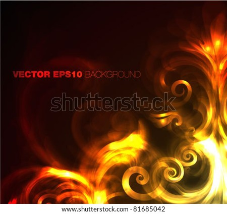 fire - flowers - vector illustration - stock vector