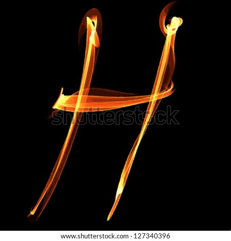 fire font letter h on black background vector - stock vector