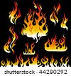 Fire graphic elements on black background - stock vector