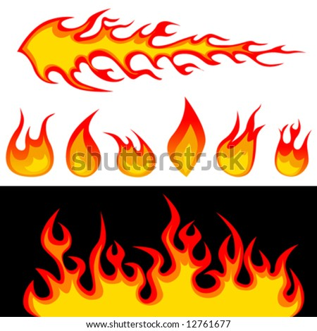 fire graphic elements vector - stock vector