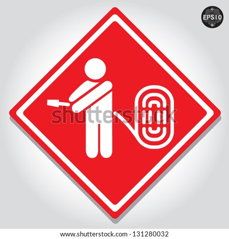 Fire hose signs, vector - stock vector