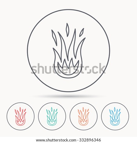 Fire icon. Hot flame sign. Linear circle icons. - stock vector