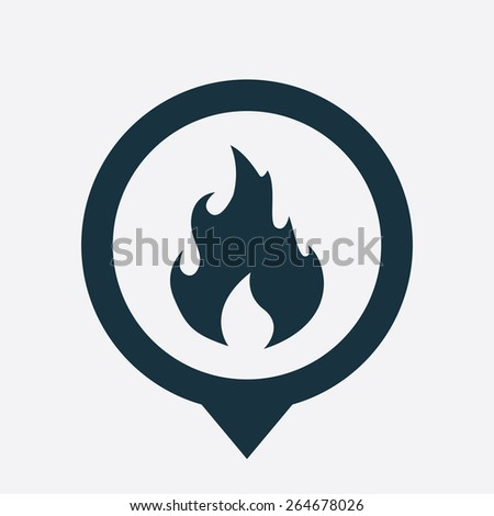 fire icon map pin on white background  - stock vector