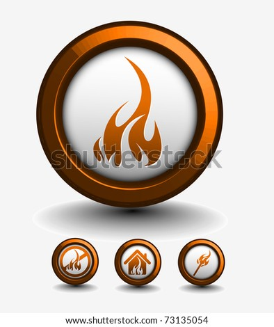 fire icon set - vector illustration - stock vector