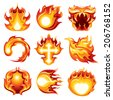 Fire Icon White Background - stock vector