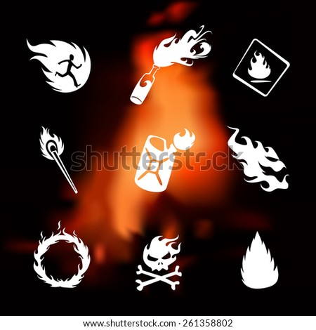 Fire icons set on flame fire blurred background  - stock vector