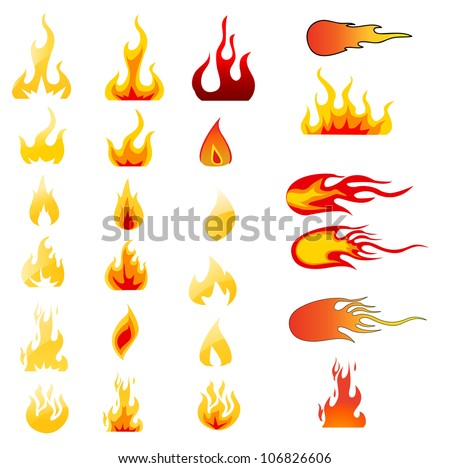 Fire Icons set vector - stock vector