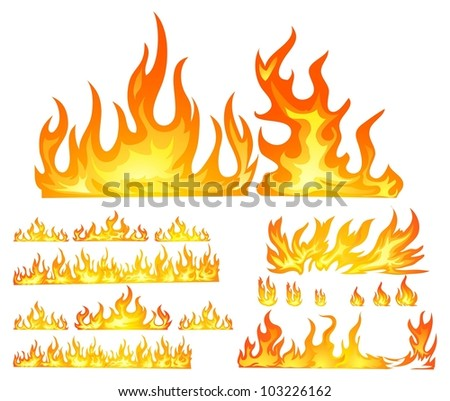 fire isolated in white - stock vector