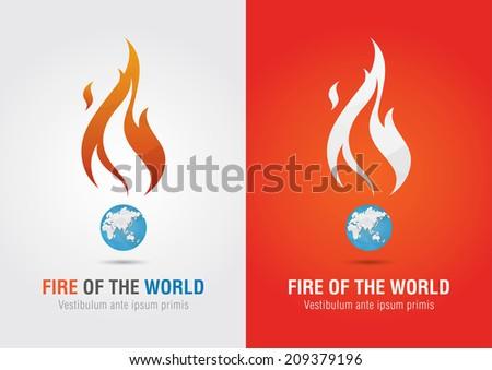 Fire of the world sign icon symbol info graphic. Creative marketing. Environmental social enterprise. - stock vector