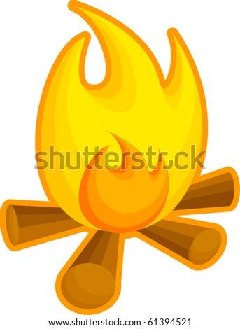 fire or campfire - stock vector