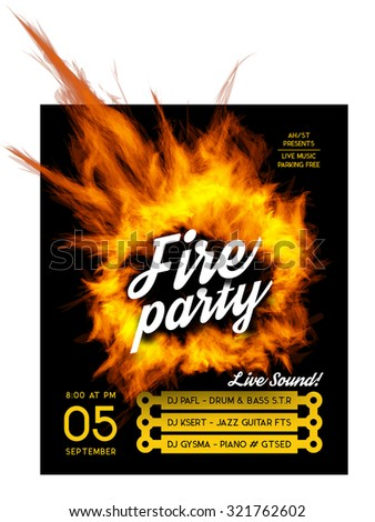 Fire party poster template.  - stock vector