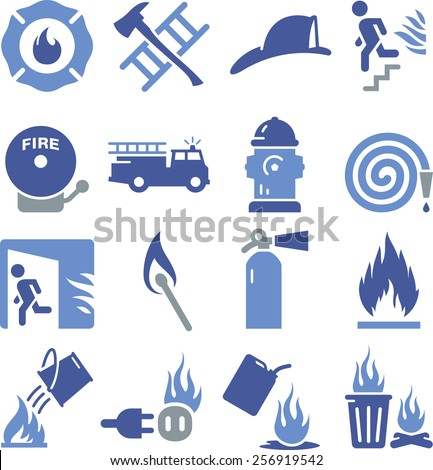 Fire related icons.  - stock vector