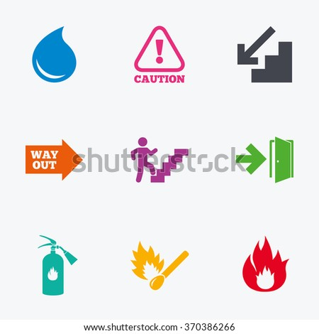 Fire safety, emergency icons. Fire extinguisher, exit and attention signs. Caution, water drop and way out symbols. Flat colored graphic icons.