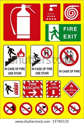 fire sign emergency - stock vector