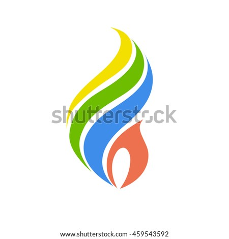 Fire symbol with Brazilian flag colors, vector
