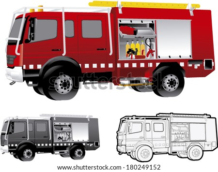 fire truck car transport firefighters  firefighter - stock vector