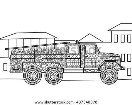 Fire Truck Coloring Book Adults Vector Stock Vector 437348398 ...