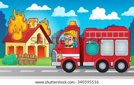 Fire truck theme image 5 - eps10 vector illustration. - stock vector
