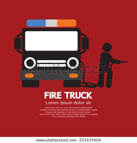 Fire Truck With A Man Vector Illustration - stock vector