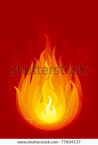 Fire. Vector background with flames of fire.
