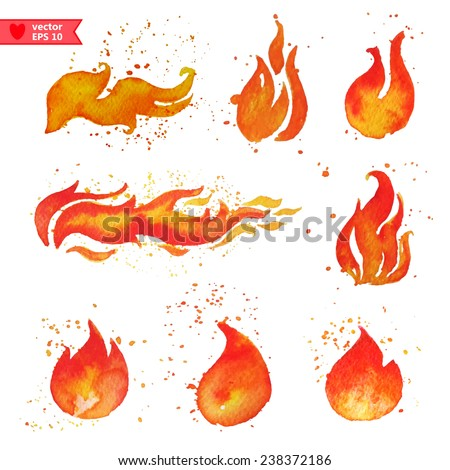 Fire, water color vector, each element on a separate layer - stock vector