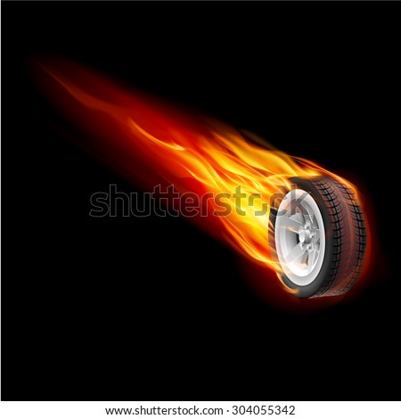 Fire wheel isolated on black background for design - stock vector