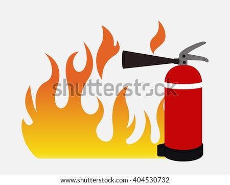 Fire with Fire Extinguisher Vector - stock vector