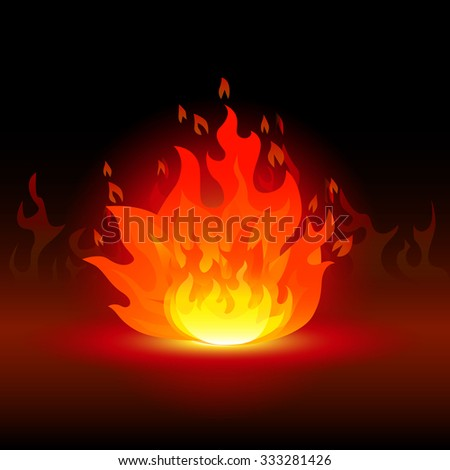 fire with reflection on a black background