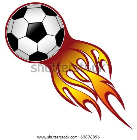 fireball football ( soccer ) ball - stock vector