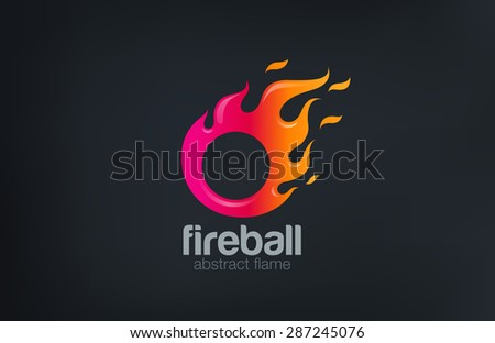 Fireball Logo Fire flame abstract design vector template. Circle shape fast speed comet logotype icon. - stock vector