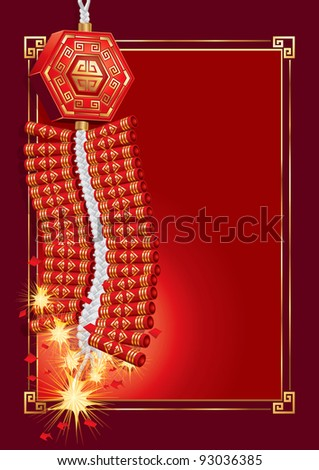 Firecrackers on Chinese New Year Card(vector).  jpg version also available - stock vector