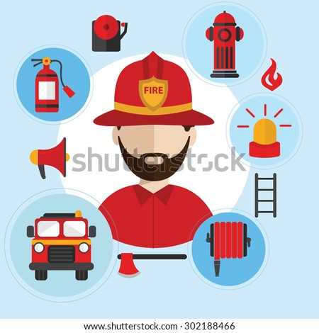 Firefighter and icons around. Flat style vector illustration - stock vector
