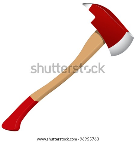 firefighter axe against white background, abstract vector art illustration