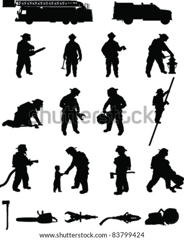 Firefighter booster pack 2, various firefighting positions, search and rescue, ladder climbing,extrication, with equipment. For more firefighting please see my profile - stock vector