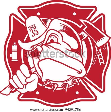 firefighter bulldog - stock vector
