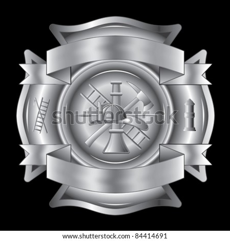 Firefighter Cross Silver is an illustration of a firefighter Maltese cross in silver with fireman tools including axe, hook, ladder, , hydrant, nozzle and firefighters helmet. - stock vector
