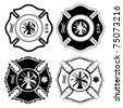 Firefighter Cross Symbols is an illustration of four versions of the Firefighter Cross symbol in one color. Vector format is easily edited or separated for print and screen print. - stock vector