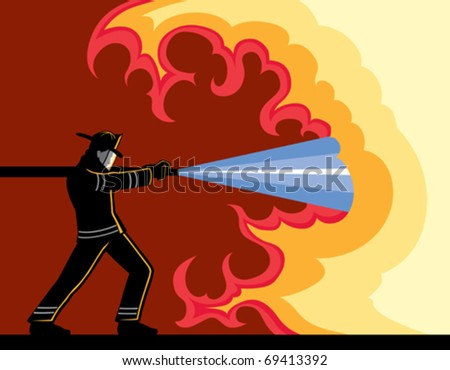Firefighter Fighting Fire is a vector illustration that can be easily edited or separated for print or screen print. - stock vector