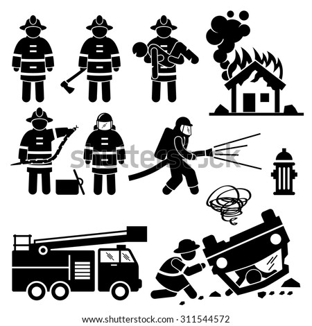 Firefighter Fireman Rescue Stick Figure Pictogram Icons - stock vector