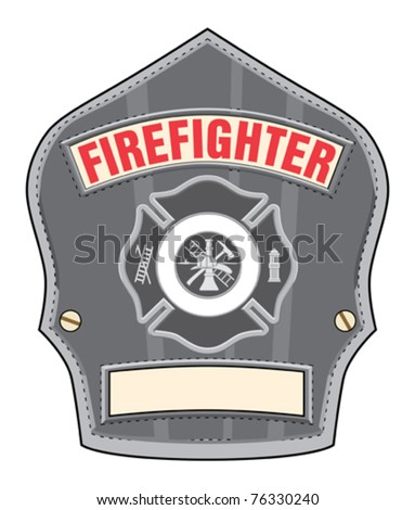 Firefighter Helmet Badge is an illustration of a black leather firefighter helmet or fireman hat badge with cross and firefighter tools. - stock vector