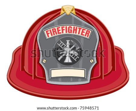 Firefighter Helmet Black is an illustration of a black firefighter helmet or fireman hat from the front. Vector format is easily edited or separated for print and screen print. - stock vector