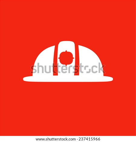 Firefighter helmet icon. Isolated on red background. Vector illustration. - stock vector