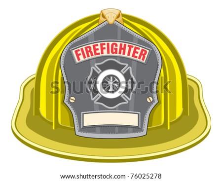 Firefighter Helmet Yellow - stock vector