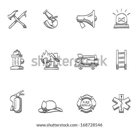Firefighter icons in sketches - stock vector