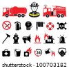 Firefighter icons, set - stock photo